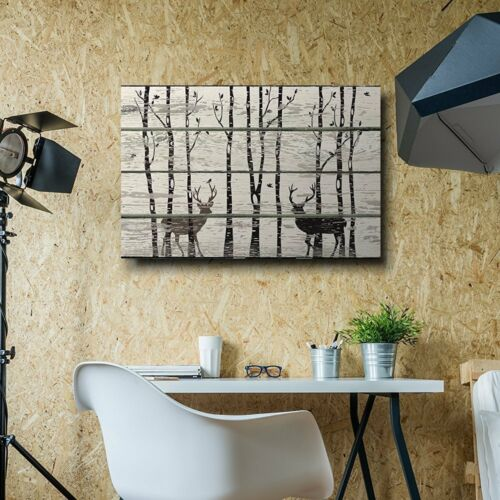 Rustic Canvas Wall Art 16x24 Deer in Birch Forest Wood Cut Print Artwork
