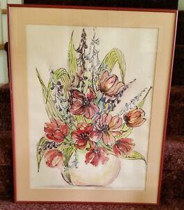 L-Parlier-signed-original-floral-watercolor-painting-EC-framed