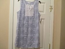 NWT CAROLE HOCHMAN BLUE & WHITE NIGHTGOWN CROCHETED DETAIL LARGE RETAIL $48.
