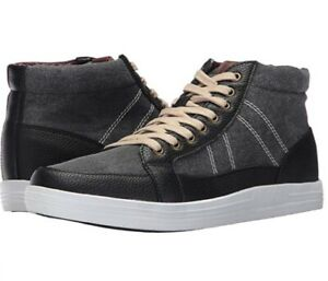 Men BEN SHERMAN Black Lace Up High Top Casual Fashion Sneakers Sz 10.5 EUC