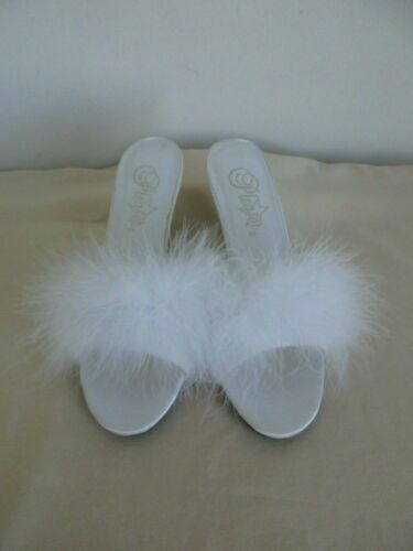 Pleaser Armour 3 White Satin Marabou Trimmed Mules