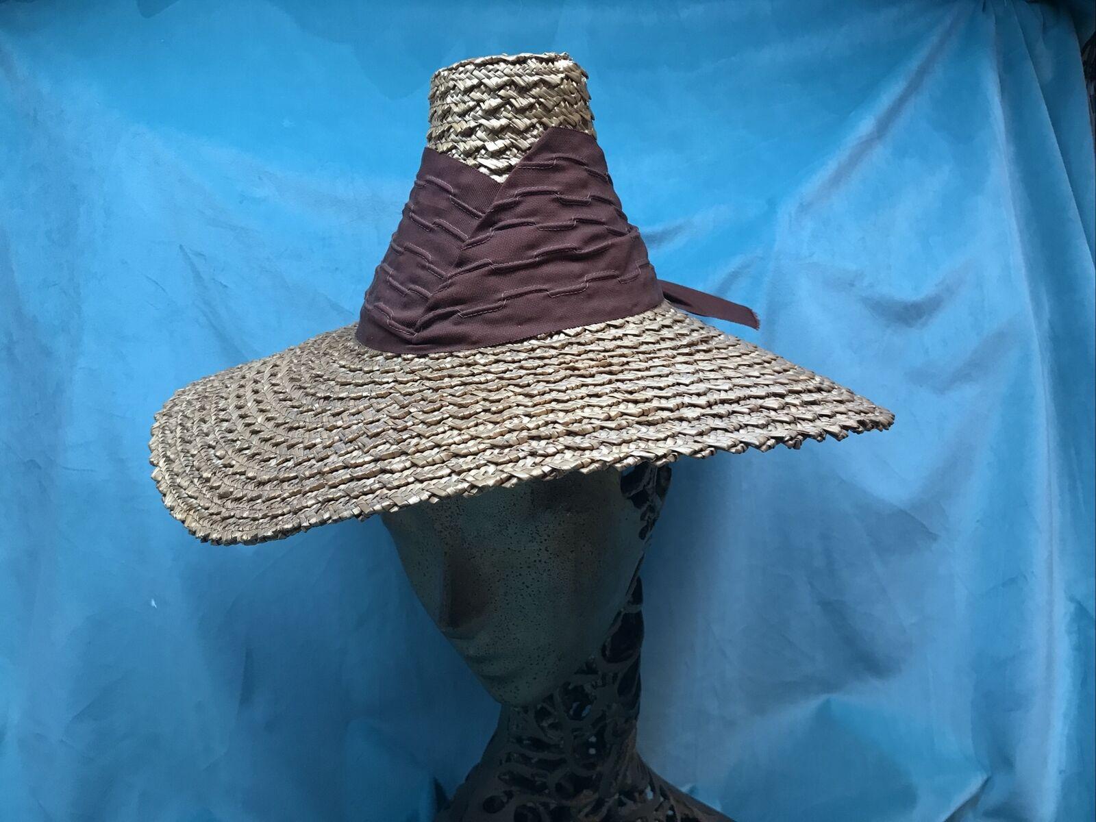 vintage straw hat 1930s 1940s 40s Tilt Wide Brim … - image 2