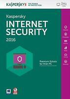 Kaspersky Internet Security 2016 3 PC / 1Jahr Vollversion Antivirus