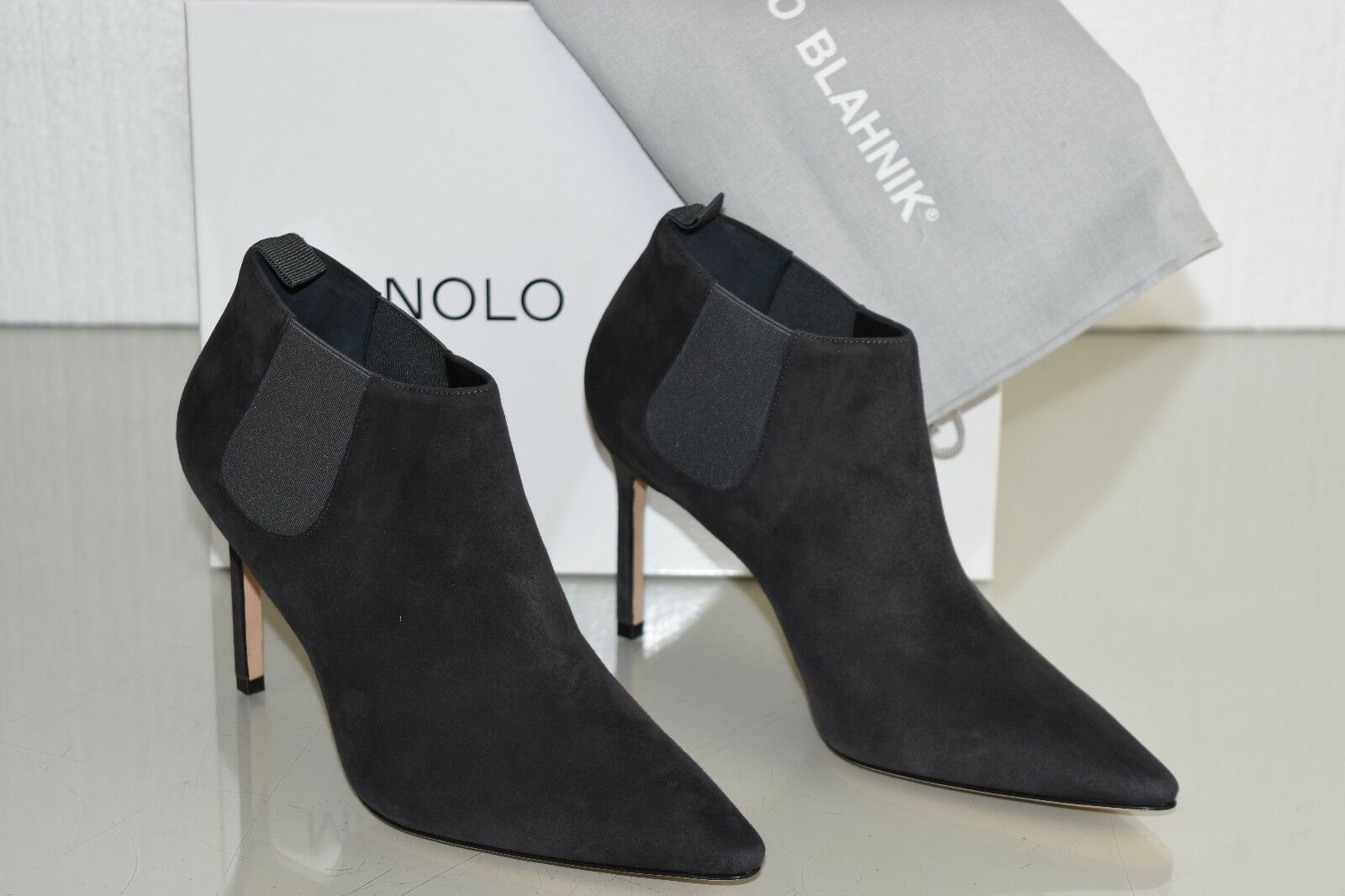 1055 New Manolo Blahnik LINUSPLA 90 Suede Ankle Bootie Boots shoes Grey 36 36.5
