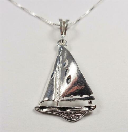 Sterling Silver nautique voile sloop VOILIER SEA LIFE BOAT Collier Pendentif