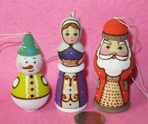 SANTA-SNOW-MAIDEN-Ryabova-Russian-Hand-PAINTED-set-3-Christmas-Tree-Decorations