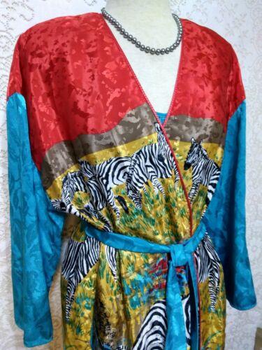 Vintage Mary McFadden Damask Signature ZEBRA Robe
