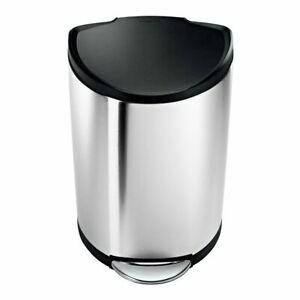 Simplehuman-Semi-Round-Trash-Can-40-Liter-10-5-Gal-Brushed-Stainless-Steel