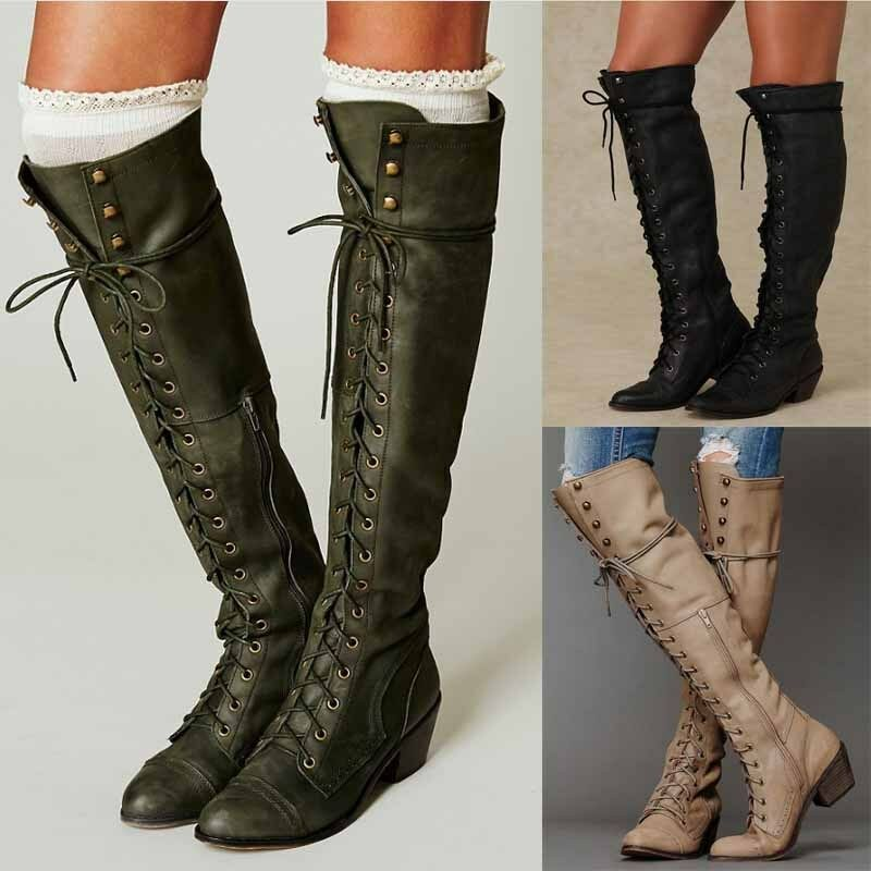 Womens Vintage Roman Knight Motorcycle Leather Boots Knee High shoes Lace up 565