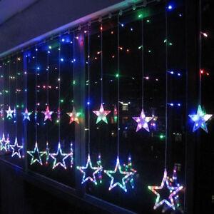 Bunt led flash lichter lichterkette stern vorhang fenster baum weihnachtsdeko ebay - Weihnachtsdeko am fenster ...