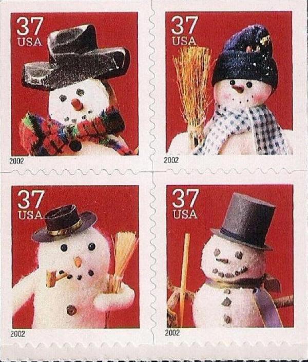2002 37c Holiday Snowmen, Booklet Pane of 4 Scott 3688-