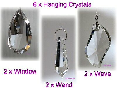 Suncatcher Hanging Crystal Drops Feng Shui Rainbow Prism Wind Chime Mobile x6