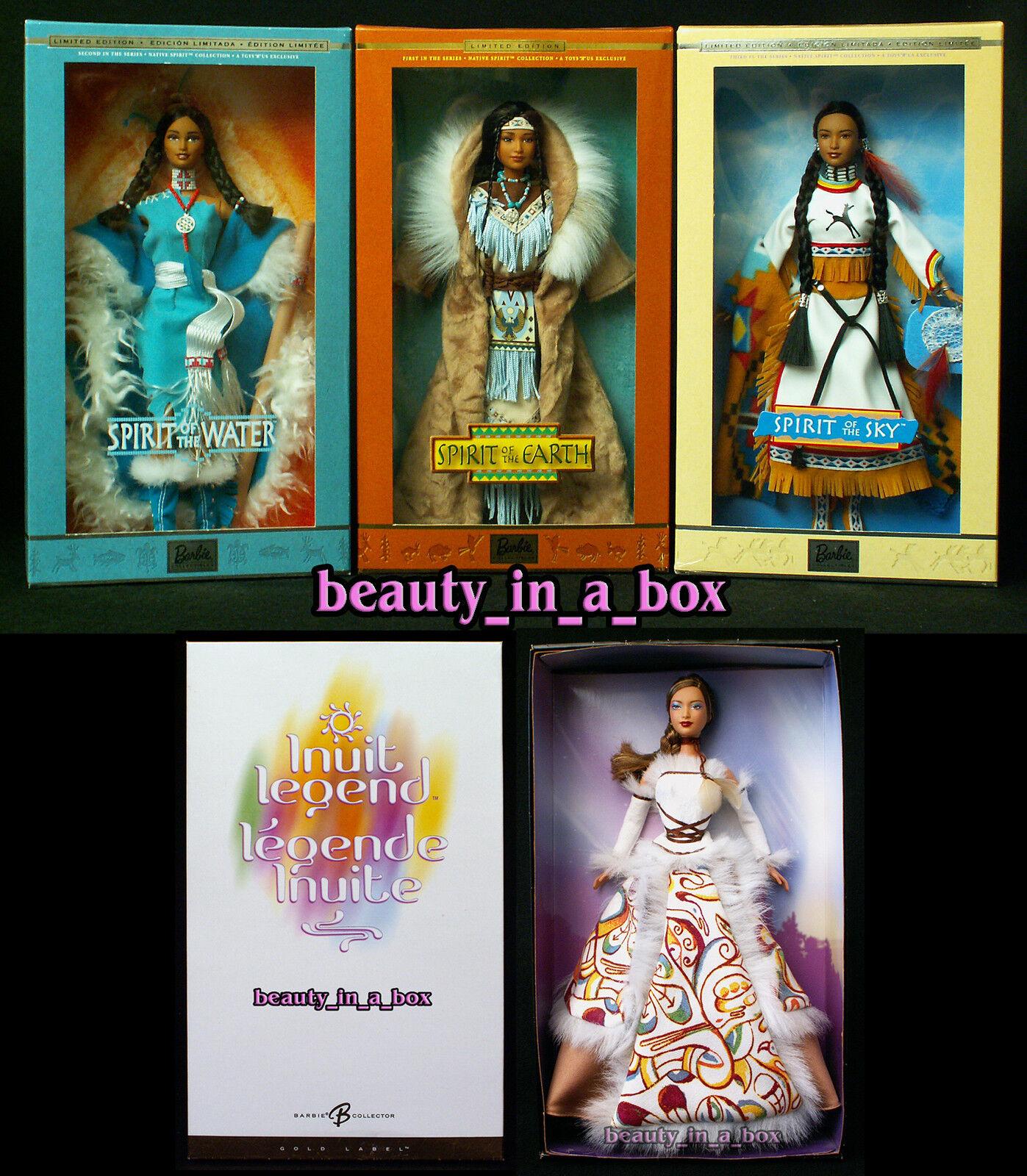 Espíritu de la muñeca Barbie Cielo Tierra Inuit Exc cajas Indio Nativo Americano Lote 4