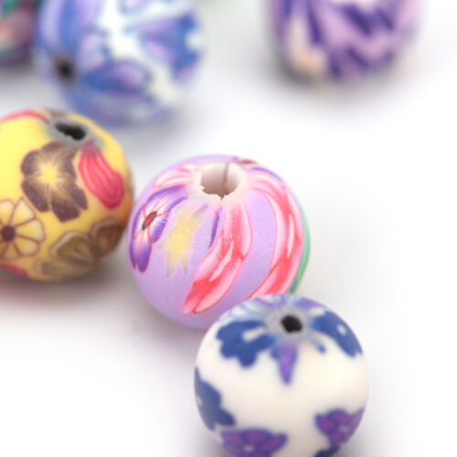 50X 10Mm Mixed Flower Polymer Clay Soft Ceramics Round Diy Findings Loose Bead#