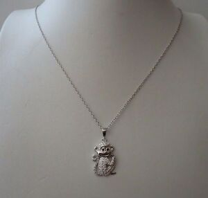 925-STERLING-SILVER-MONKEY-PENDANT-NECKLACE-W-75-CT-DIAMONDS-SIZE-19MM-BY-12MM