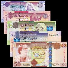 Libya, Lybien set 5 PCS, 1 5 10 20 50 Dinar, P-71 72 73 74 75, UNC