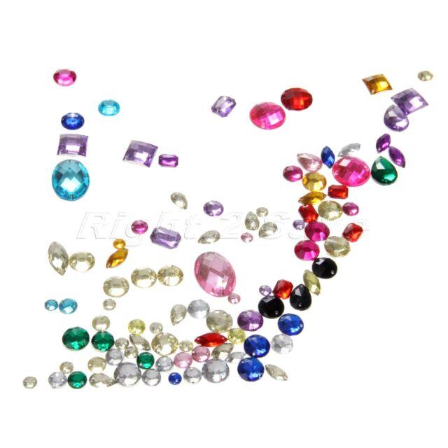 100pcs Flat Back Assorted Shape Acrylic Sewing Rhinestone Sew On Beads DIY Craft