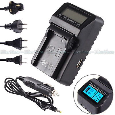 Wall/CAR LCD Battery Charger For LC-E8E LP-E8 Canon EOS 550D 600D 650D 700D USB