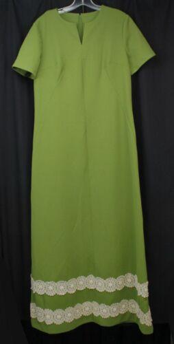 Vtg Maxi Long Dress Mod Retro 60s 70s Boho Avocado