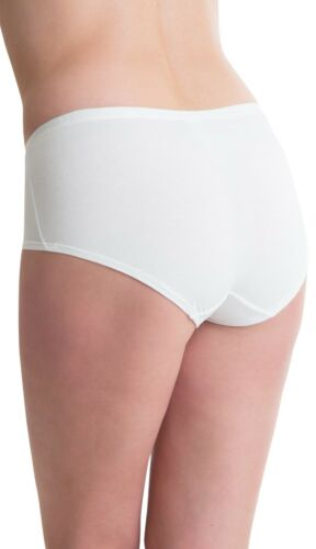 Passionelle 6er Pack Damen Luxus Stoff Weiß Designer Midi Schlüpfer Unterhose
