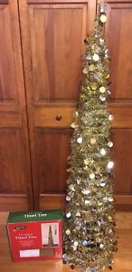 Image Is Loading 5 Ft Gold Amp Silver Tinsel Christmas Tree