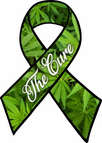 CANNABIS CURE CANCER RIBBON car sticker laptop support legalise weed