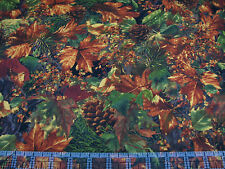 2.4 Yards Quilt Cotton Fabric - Timeless Treasures Leaves Needles Pine Cones