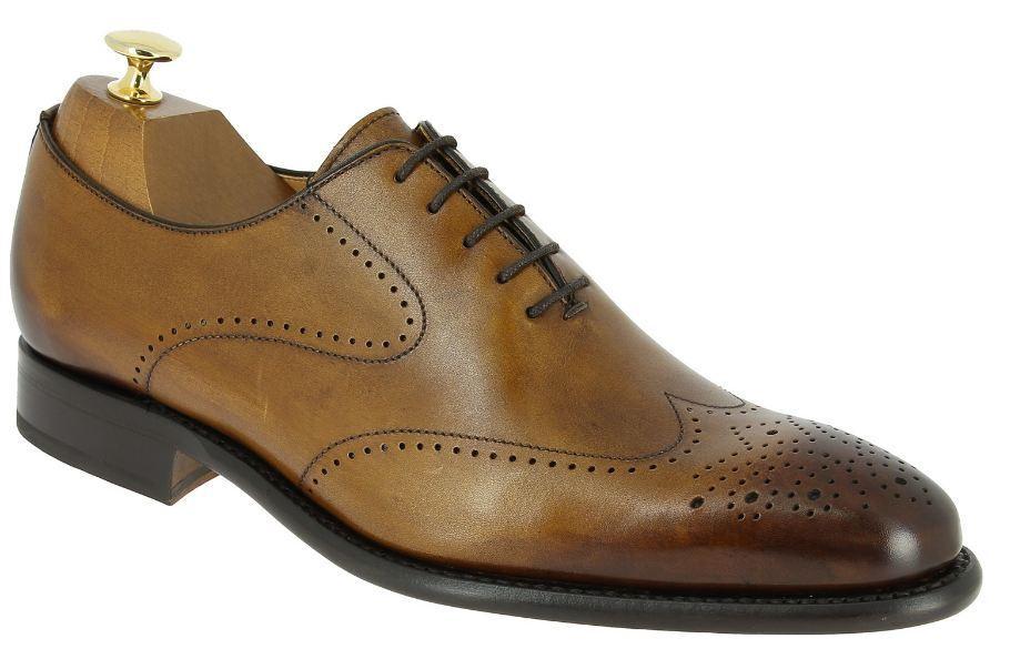 Handmade uomo brown leather shoes, uomo wingtip brogue shoe, uomo dress formal shoe Scarpe classiche da uomo