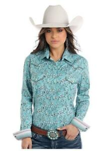 Panhandle-Slim-Women-039-s-Turquoise-Paisley-Snap-Up-Western-Shirt-R4X2133-R4S2133