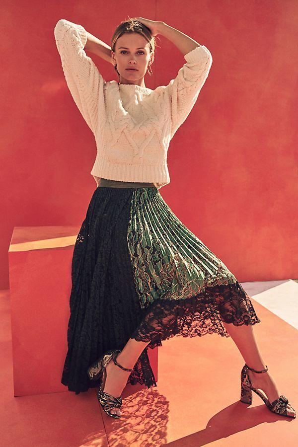 228  Anthropologie Shimmer Asymmetrical Midi Skirt size NEW NWT  M green