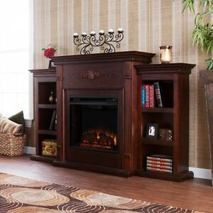 Electric Fireplace TV Stand Brown Wood Entertainment Media