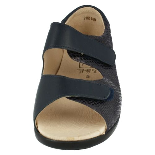 Tan Leather Open  Easy B Wide Fit Sandals Bliss Ladies Navy Beige
