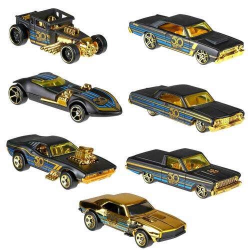 **HOT WHEELS 50th ANNIVERSARY BLACK AND GOLD YOU CHOOSE ONE**