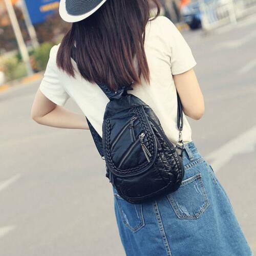 Women Girls Faux Leather Small Mini Sling Backpack Rucksack Chest Pack Purse Bag