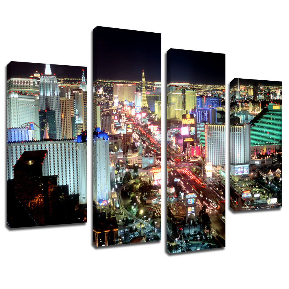 MSC227 Las Vegas Night Skyline Canvas Wall Art Multi Panel Split Picture Print