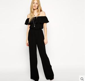Women Off Shoulder Wide Leg Pants Lotus Leaf High Waist Slim Long Trouser Zsell