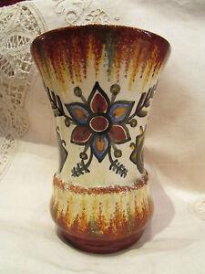 Ancien Vase Faience Quimper Fouillen Fait Main