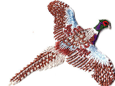 PHEASANT FLYING Iron On Patch Birds Hunting Sports