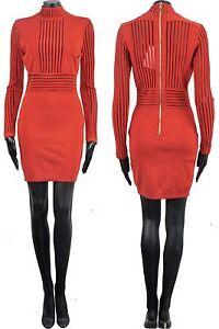 BALMAIN-3500-Authentic-New-Red-Viscose-Stretch-Knit-Stripe-Mini-Dress-sz-36-4