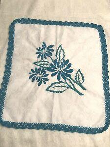 Square White Blue Green Linen Doily Table Runner Crochet Edges Tablecloth Beauty