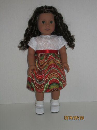 """Red Wavy Print//Embroidered Dress for 18/"""" American Girl Doll Clothes"""