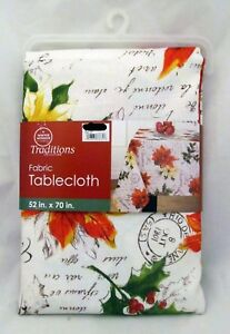 Poinsettia-Christmas-Party-Decor-Fabric-Tablecloth-Table-Cloth-Cover-52-034-X-70-034