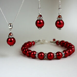Red Pearl Crystal Necklace Chunky Bracelet Earring Wedding