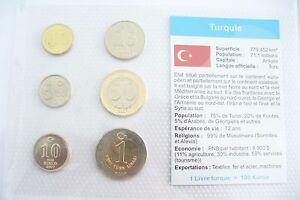 """Superbe SÉrie Monnaies """" Turquie """" - Neuf/fdc Sous Blister Couleurs Fantaisie"""