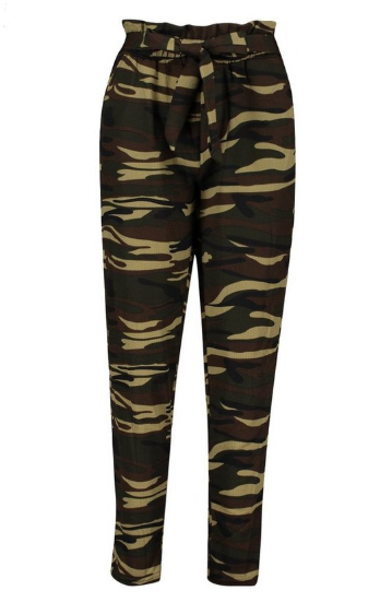 Rationnel Boohoo Camo Tie Waist Trouser Paperbag Taille Vert S/m