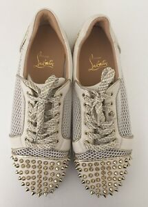 official photos 5d155 3c67d Details about Christian Louboutin Vieira Spiked White Low Top Sneaker Shoe  size 41.5/10.5 $895