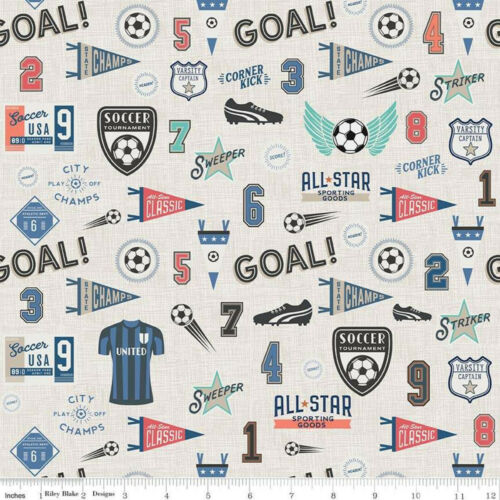 By 1//2 Yard ~ Riley Blake Deena Rutter Varsity Soccer Fabric ~ Main in Coral