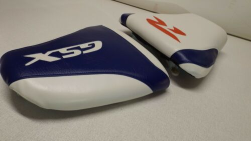 SUZUKI GSXR 600//750 FRONT /& REAR CUSTOM SEAT COVERS 96//98//99//00 ON WHITE//BLUE