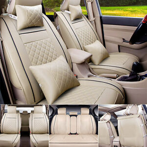 Size M PU Leather 5-Seats Car Seat Cover Cushion Front Rear W/Neck ...
