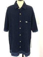 Tommy Hilfiger Surf Co Hawaiian Button Down Pocket Blue Polo Shirt Mens Medium M